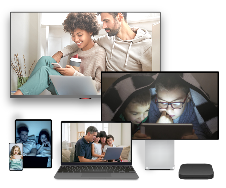 Multiple screens displaying video content